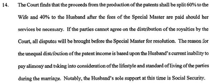 Excerpt from divorce decree In re Marriage of Taylor