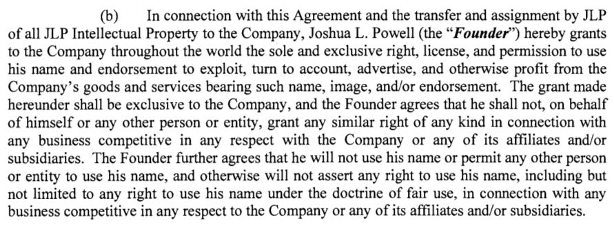 JL Powell Clothing LLC v Powell Contribution Agreement snip