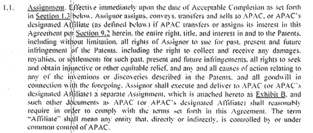 Dominion Assets v Masimo Corp Agreement clip