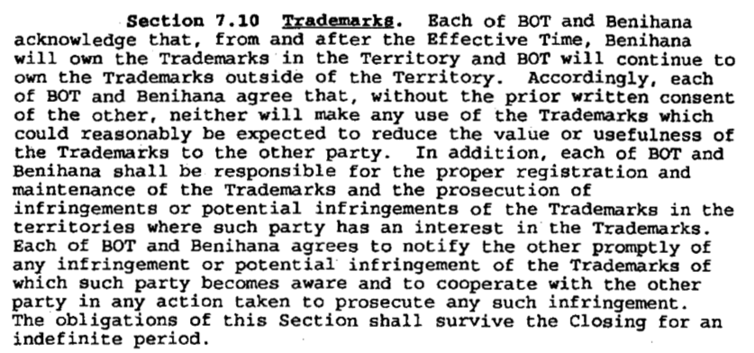 Section 7.10 of the Benihana agreement