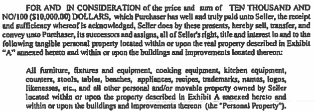 Snip from Bill of Sale